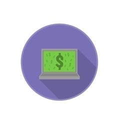 Flat icon with computer and dollar sign on vector