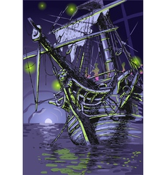 Adventure island - the ghost ship vector