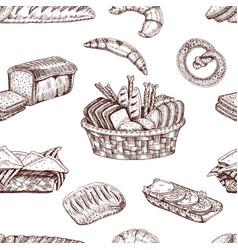 Bakery hand drawn seamless pattern vector