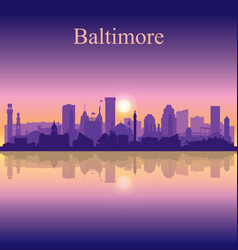 Baltimore silhouette on sunset background vector
