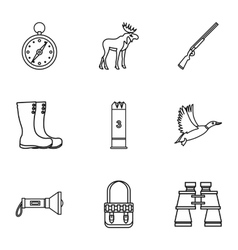 Bird hunting icons set outline style vector