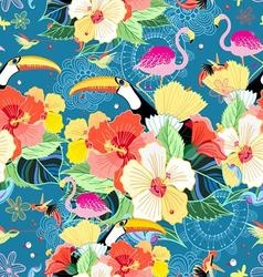 Bright seamless tropical pattern with flowers vector