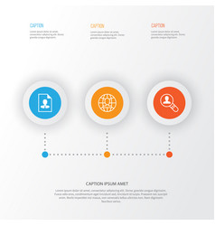 Business icons set collection of global work cv vector