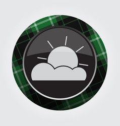 Button green black tartan - partly cloudy icon vector