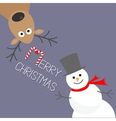 Cartoon snowman and deer violet background candy vector