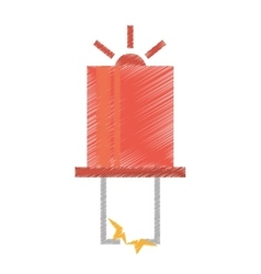 Drawing red electronic transistor hardware vector