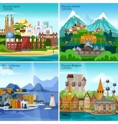 European touristic icon set vector