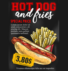 Fast food hot dog french fries price card vector