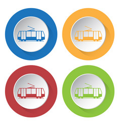 Four round color icons tram streetcar vector