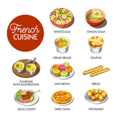 french cuisine menu vector image vector image