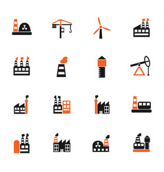 Industrial building icon set vector