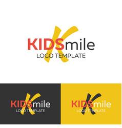 Kids smile logo letter k logo logo vector