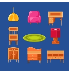 Living room objects set vector