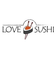 Love sushi icon vector