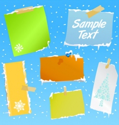 note paper with snow effect vector image vector image