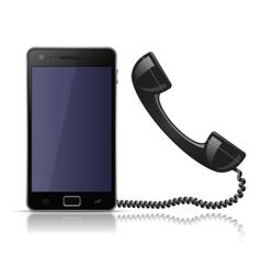 Old school telephone handset for smartphone vector