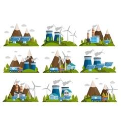 Orthogonal Ecology Icon Set vector image