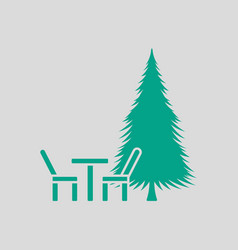 Park seat and pine tree icon vector