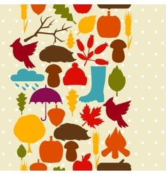 Seamless pattern with autumn icons and objects vector image