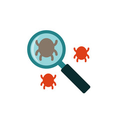search bug flat icon vector image vector image