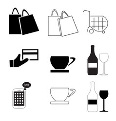 Shopping bags - business finance - coffee - wine vector