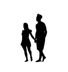 Silhouette couple man and woman walk holding hands vector