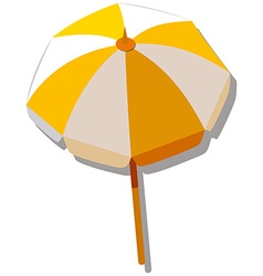 Single umbrella with yellow and white striped vector