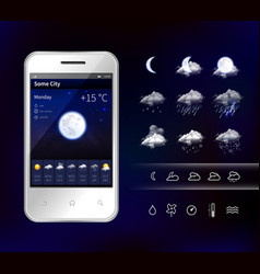 Smartphone mobile weather realistic image vector