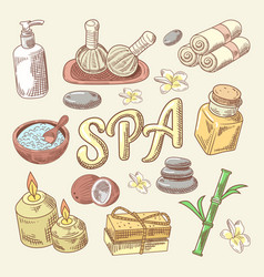 Spa and wellness hand drawn doodle with lotus vector