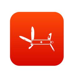Swiss multipurpose knife icon digital red vector