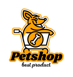 The logo on the theme of shop for pets a dog vector