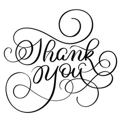 Vintage hand drawn text thank you on white vector
