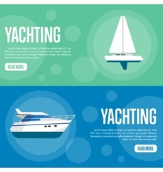 Yachting website template set horizontal banners vector