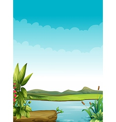 A river with plants and a wood vector