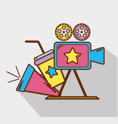 Video camera with horn soda and filmstrips vector