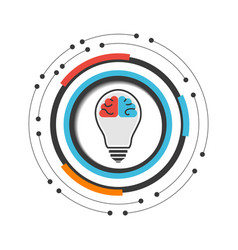 Brain in lightbulb vector