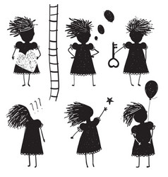 Girl silhouette character traits clip art vector