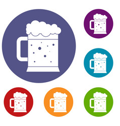 Beer mug icons set vector