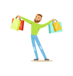 Elegant young handsome man standing with shopping vector