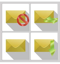Set of icons four envelopes vector