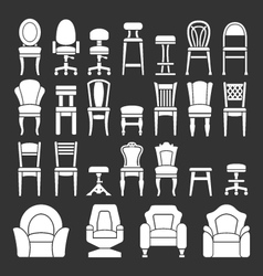 Set icons of chairs vector image