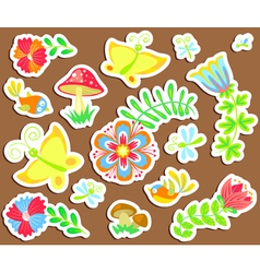 Floral stickers vector