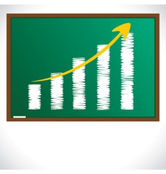 Market graph draw on green board vector