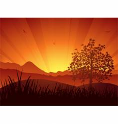 Summer landscape sunset and tree vector