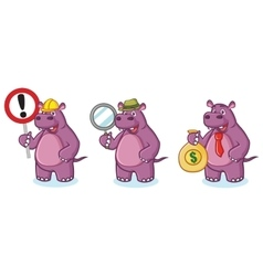 Purple hippo mascot money vector