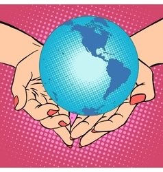 Planet earth in hands america vector