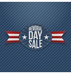 Memorial day sale festive label with ribbon vector
