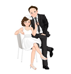 Wedding cartoon bride pulling on grooms tie isol vector