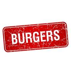 Burgers red square grunge textured isolated stamp vector
