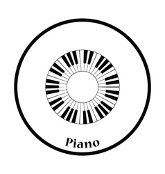 Piano circle keyboard icon vector